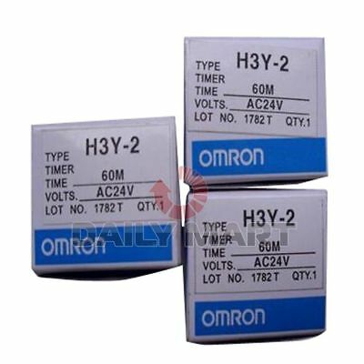 Omron New H3Y-2 Ac24V 60M Plc Dpdt Solid State Timer Time Replay 24Vac