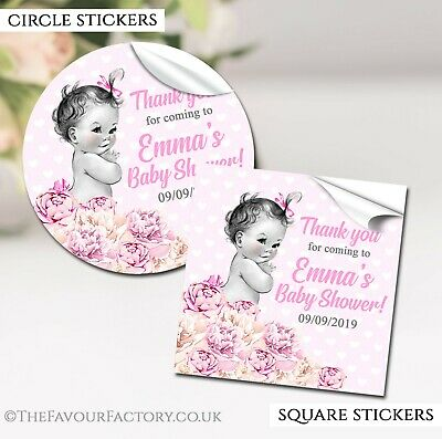 Baby Shower Favours Stickers Labels Vintage Girl Personalised GLOSSY