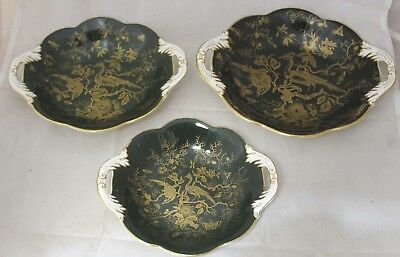 Set of 3 COALPORT China Cairo Green and Gold Birds Two Handled Dishes - 226