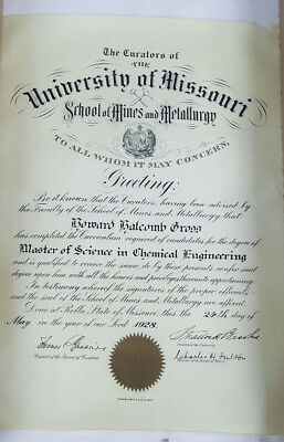 1928 University Of Missouri Master Of Science Degree Diploma  Rare