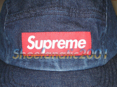 5eaa986082d SUPREME CAMP CAP 5 Panel Blue Denim Red Box Logo Adjustable Jean ...