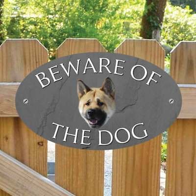 Beware of the Japanese Akita Gate Sign, Outdoor Beware of the Dog Gate Plaque