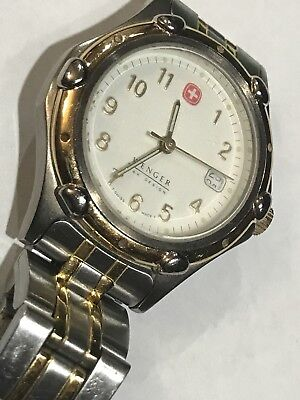 Vintage Wenger Sak Design Date Swiss Made Quartz Men Watch Size 6