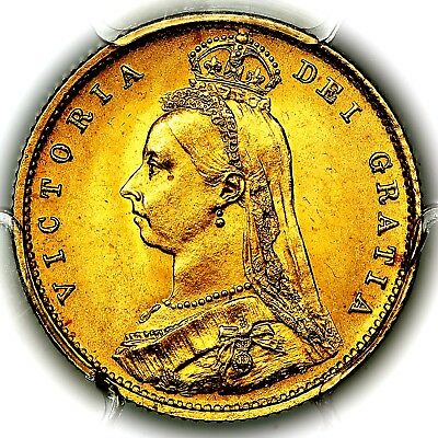 1887 Queen Victoria Great Britain London Gold Half 1/2 Sovereign PCGS MS65