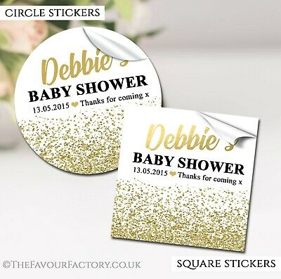 Gold Glitter Confetti Personalised Baby Shower Party Favours STICKERS labels