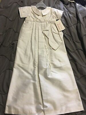 NWT Boys Christening Baptism Gown/Romper with detachable skirt 6M 100%Silk