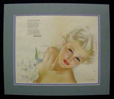 Esquire magazine centerfold Pin Up Girl by ALBERTO VARGAS, matted, 1940's
