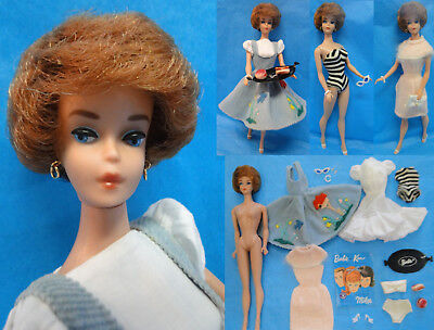 Vintage 1st Issue Japan 1960's Titian Buble Cut Barbie Doll & Clothes LOT