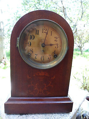 Antique Seth Thomas Mantel Shelf Clock Wood Inlay Works Pendulum & Key 13""
