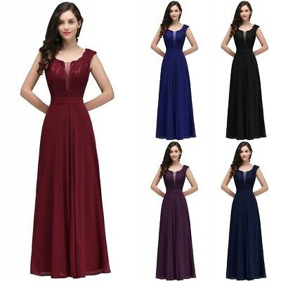 Long Evening Prom Dress Formal Party Ball Gown Bridesmaid Applique Us Stock