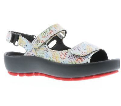 fa9633a7a04 New Womens WOLKY Rio White Multi Canals Leather Sling Back Mary Jane Sandals