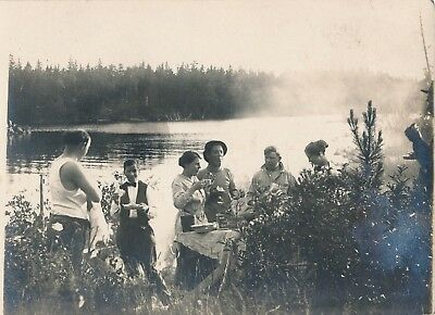 Vintage Photo Postcard 4x5 Picnic on Silver Bay 1913 Morton's Salt Can