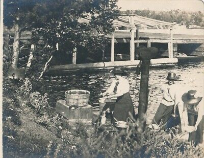 Vintage Photo Postcard 4x5 Women Cleaning Fish Lac LaBelle 1913