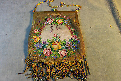 Antique 1800's Glass & Metallic Seed Bead Floral Purse Leather Inside & Fringe