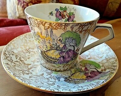 Nelson Ware Cup & Saucer 'Pompadour' Lavender Gold Crinoline Lady English Garden