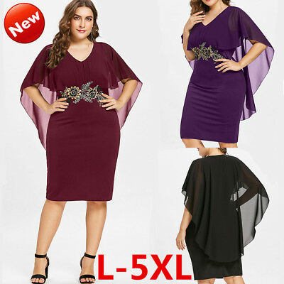 Plus Size Womens Fashion Dress Embroidery Sexy V-Neck Cocktail Party Bodycon HOT