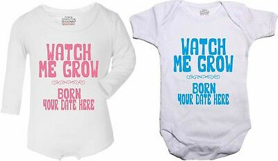 Watch Me Grow funny baby vest bodysuit personalised with date of birth