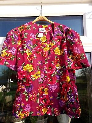 VINTAGE 80s DOES 50s BLOUSE/VIVID PINKS/PURPLES/SIZE 14/LESLEY FAY COLLECTION