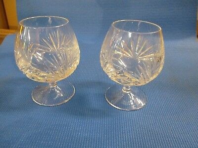 Pair Of Vintage Cut Crystal Brandy Snifters