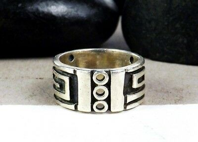 Old Sterling Silver 925 Wide Band Modernist Aztec Mayan Design Size 6 Ring