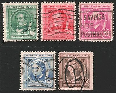USA 1940 Famous Americans - Authors set of 5 Used