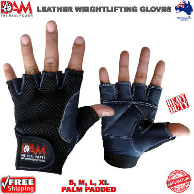 Dam Leather Gloves Weightlifting Palm Padded Real Leather Gym Exercise Black New