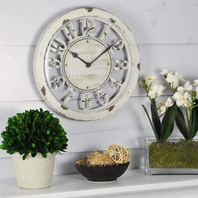 Farmhouse Kitchen Wall Clock Country Style Distressed Ivory Shabby Chic Antique