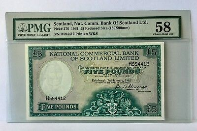 SCOTLAND  £5  1961 P-270  PMG 58 Choice About UNC