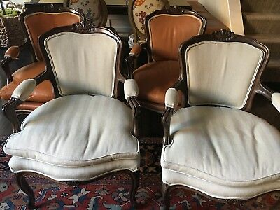 4 French Louis XV Style Reproduction Carved Frame Fauteuil Arm Chairs