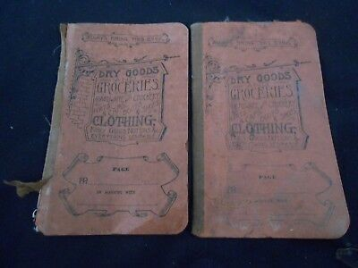 estate find- 2 dry goods grocery list booklets - 1923 read all