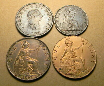 Great Britain 1807 and 1862 1/2d and 1897 and 1912 1d