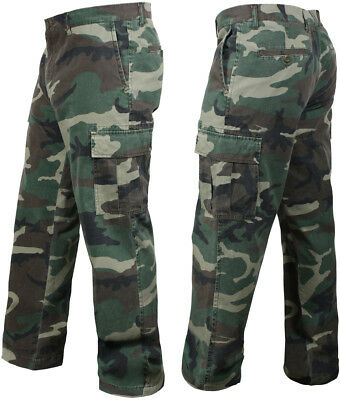 Woodland Camo Vintage Cargo BDU Pants Relaxed Military Tactical Army Fatigues