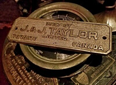 Taylor Strong Room Bank Vault Antique Makers Plaque Toronto Canada Locksmith