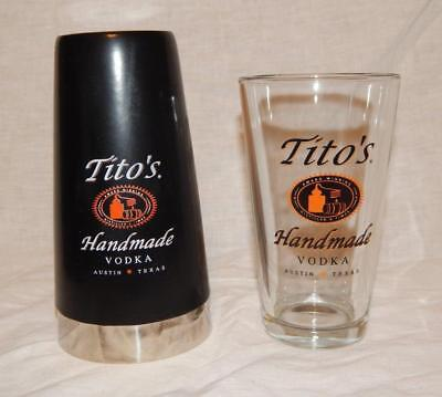 Titos Vodka Stainless Steel Cocktail Shaker with Vinyl Coating and free Glass
