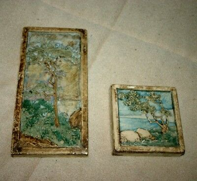 clay craft tile set of 2 tiles.... very nice...no chips....all original ceramic