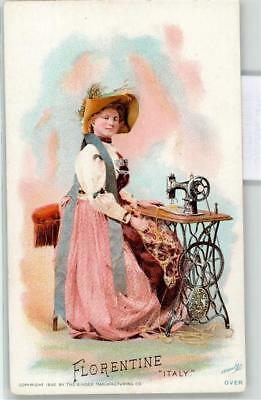 52302318 - Tuscania Singer Manufacturing Co Frau in Tracht Hutmode Naehmaschine