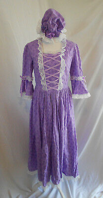 Colonial Williamsburg 1776 Dress Costume Lace Up Bodice Bows w/ Mob Cap Bust 38""