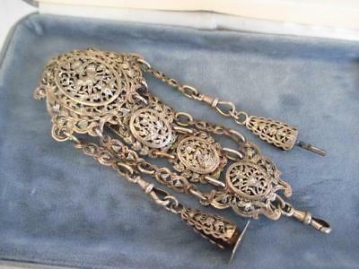 Amazing Rare Vintage Antique Victorian Ornate Openwork French Silver Chatelaine
