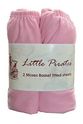 2 pack Baby Pram/Moses Basket Oval Jersey Fitted Sheet 100% Cotton Pink 12'x30'