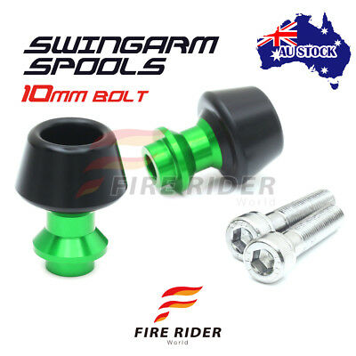 For Kawasaki ZX-12R Ninja 00-06 01 02 03 04 10MM CNC Green Swingarm Spools Set