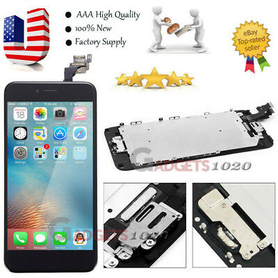 Black iPhone 6 Plus LCD Digitizer Touch Screen Replacement +Home Button &Camera