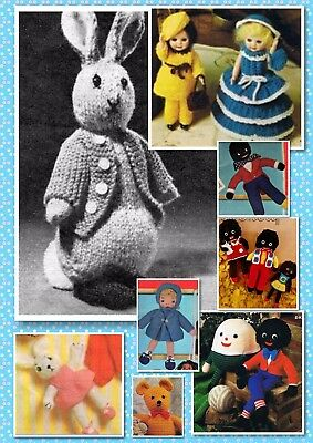 100+ Vintage TOY & DOLL Knitting & Crochet PATTERNS ~ Peter Rabbit + more.