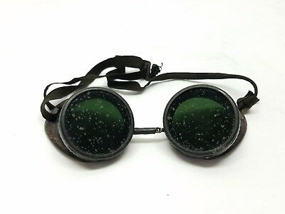 Vintage Antique Wilson Green Lens Safety Glasses Steampunk Motorcycle Goggles