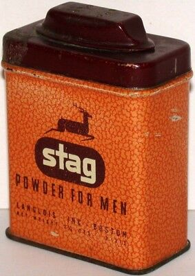 Vintage tin STAG POWDER FOR MEN deer pictured Langlois Inc Boston at Rexall Drug