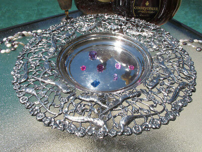 Large Decorative Plate Dish Platter Spain Sterling Silver Bowl Birds Fruits Old