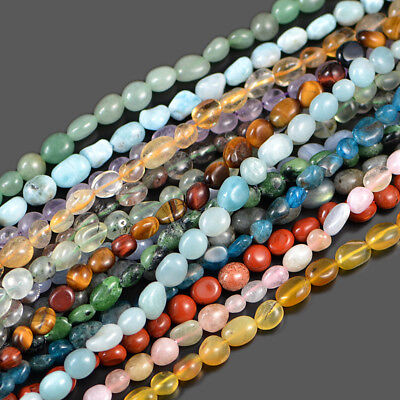 "4-10mm Natural Gemstone Freeform Potato Pebble Chips Loose Beads 15.5"" Jewelry"