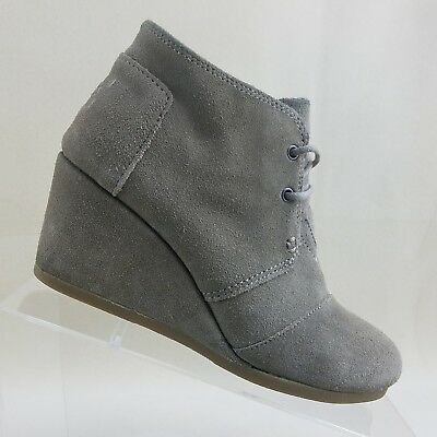 f2630643862b Tom s Women Taupe Suede 2 3 4 Inch Wedge Desert Ankle Lace Up Boots SZ