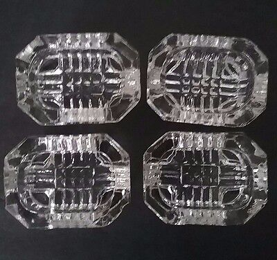 Vintage Set of 4 Cut Glass Salt Cellars with Pedestal Inch Legs