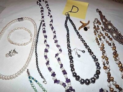Huge Lot D Of Genuine Pearl Jewelry, Necklaces, Earrings, & More *lqqk*