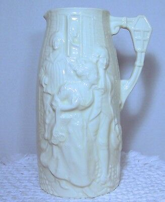 """Vintage BURLEIGH WARE """"Sally In Our Alley"""" TALL RELIEF PITCHER raised decoration"""